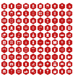 100 interior icons hexagon red vector image
