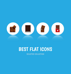 Flat icon bitter set of chocolate cocoa wrapper vector