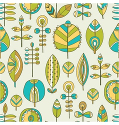 seamless pattern of hand drawn leaves vector image
