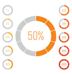 set of ring pie charts with percentage value vector image
