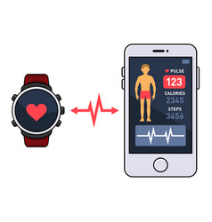 smart watch and smartphone with fitness vector image