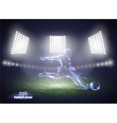 Stadium lights Motion design Football player vector image vector image