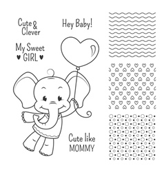 Baby elephant outline design set seamless patterns vector image