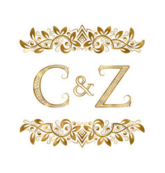 C and z vintage initials logo symbol the letters vector