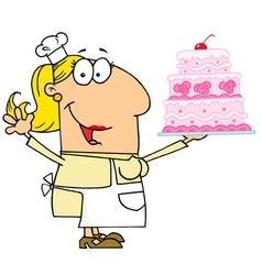 Caucasian Cartoon Cake Maker Woman vector image vector image