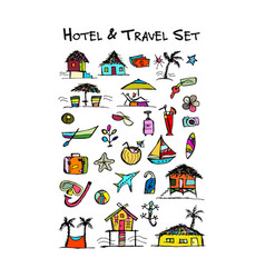 hotel and travel icons collection for your design vector image vector image