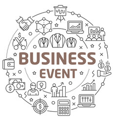 line flat circle business event vector image vector image