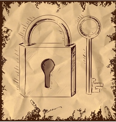 Old key and lock on vintage background vector image vector image