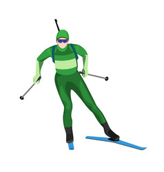 biathlete skier with two lightweight poles on skis vector image