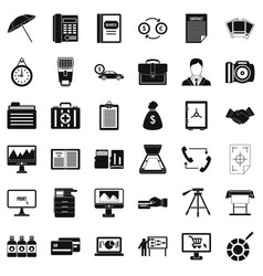 Finance department icons set simple style vector