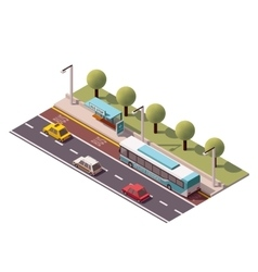 isometric bus stop vector image vector image