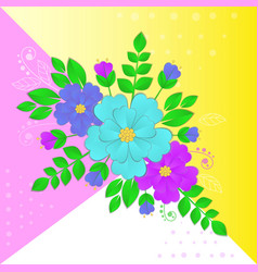 paper flowers and leaves on vector image