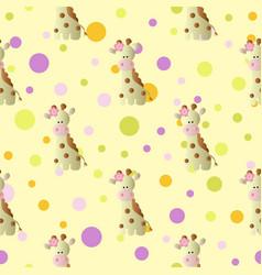 pattern with cartoon cute baby giraffe and circles vector image