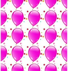 Seamless background with party balloons of pink vector image