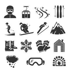 Ski resort sports icons Winter snow skiing sport vector image