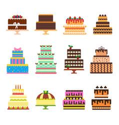 birthday cake cheesecake cupcake for happy vector image