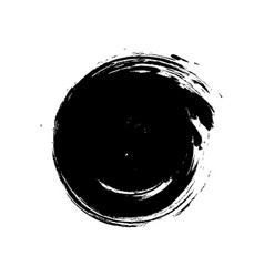 black grunge hand-drawn round spot on white vector image vector image