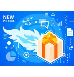 bright fire and gift box with bow on blue ba vector image