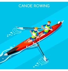 Canoe Coxless Pair 2016 Summer Games 3D vector image