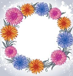 colorful flowers laid out in a circle vector image vector image