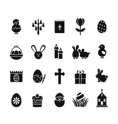 easter icons black and white spring christian vector image vector image