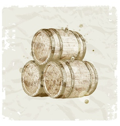 Hand drawn wooden barrels vector