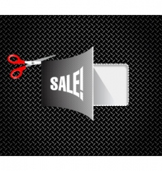 metal discount coupon with scissors vector image vector image