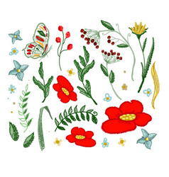 set of flowers embroidery elements vector image vector image