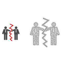 2d mesh businessmen divorce and flat icon vector