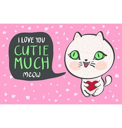 A cute white cat with a heart is saying I love you vector