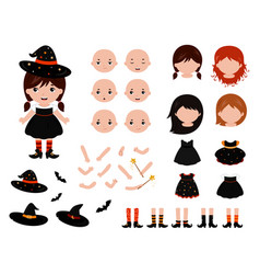 adorable little witch constructor halloween vector image