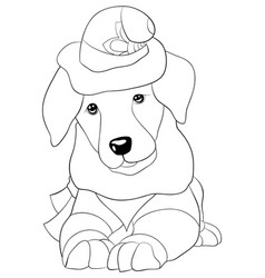 adult coloring bookpage a cute dog with christmas vector image