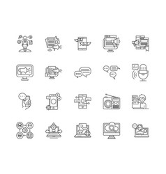 advertising media line icons signs set vector image