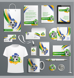 advertising soccer football cup materials vector image