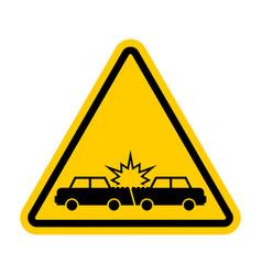 Attention car crash caution accident cars vector