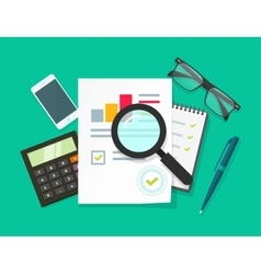 Auditor work desk accounting business research vector