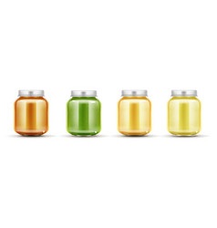 baby food jars set glass puree bottles with cap vector image