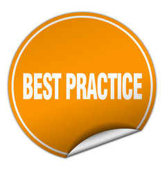 Best practice round orange sticker isolated on vector