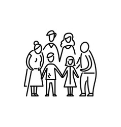 Big family children parents and grandparents vector