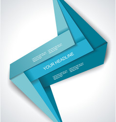 Blue paper folded ribbons collections design for vector