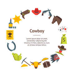 Cartoon cowboy banner card circle vector