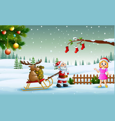 Cartoon funny santa claus pulling reindeer on a sl vector