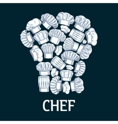 Chef toque label in shape of cook hats vector