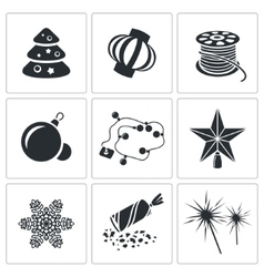 Christmas decorations Icons Set vector