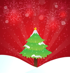 Christmas Tree With Red Background And Snowflakes vector image