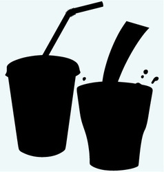 Closed cup with a straw and a splash of cola vector image