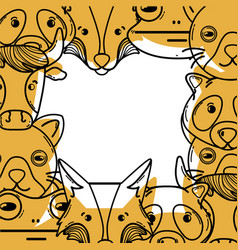 Color cute heads of wilds animals background vector
