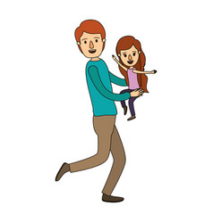 Color image caricature full body man carrying a vector
