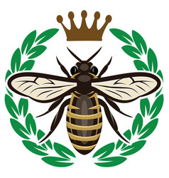 Color pattern with flying bee and crown vector