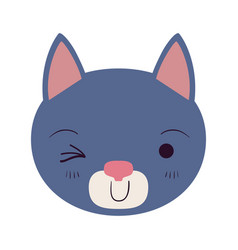 Colorful caricature cute face of cat wink eye vector